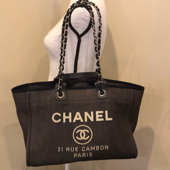 1f93f5be215c2f CHANEL Handbags - CHANEL Denim Large Deauville Shopping Tote Bag